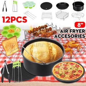 12tlg Zubehör Set für Heißluftfritteuse Heißluftofen Fritteuse Backform Airfryer