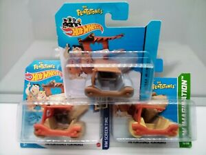 Hot Wheels TV Cartoon / The Flintstones Flintmobile - Short Card - Model Cars x3
