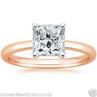 3 Ct Princess Solitaire Engagement Wedding Promise Ring Solid 14K Rose Pink Gold