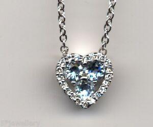 "NEW real 9ct 375 white gold heart Diamond & aquamarine pendant 16"" trace chain"