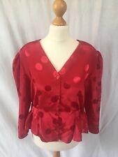 Dorothy Perkins Size UK 14 Genuine 1980s Vintage Red Polka Dot Padded Jacket