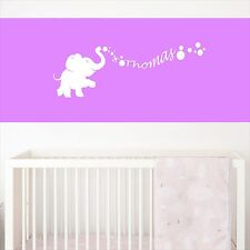 Personalized Baby Elephant Name With Bubbles Decal Vinyl Wall Decal Sticker