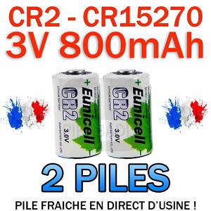 LOT DE 2 PILE ACCU BATTERIE CR2 LITHIUM (CR15270) 3V 800mAh EUNICELL CR2 CR-2