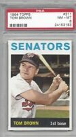 1964 Topps baseball card #311 Tom Brown, Washington Senators graded PSA 8 NMMT