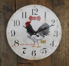 French Country Chic Style Wooden Clock La Coq Hen Chicken Rooster