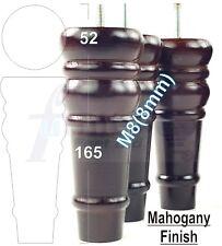 4x WOODEN FEET MAHOGANY FURNITURE LEGS SOFA CHAIRS, SETTEE STOOL M8(8mm) FITTING