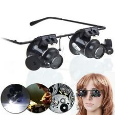Eye 20x Magnifying Magnifier Glasses Loupe Len Jeweler Watch Repair LED Light TL