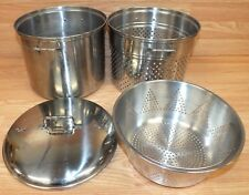 Genuine Vollrath Stainless Steel 4 Piece Pasta Stock Cooking Pot / Strainers Set