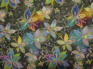 Metallic Flowers Enchanted Florals Gold Metallic Thread Black Cotton Fabric FQ