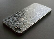 iPhone Aufkleber. 3D Lederstruktur Alligator, silber/grau. Für iPhone 4/4S/5/5S