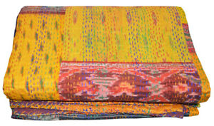 Indien Vintage Quilt Kantha Patola Bedspread Cotton Blanket Ralli Gudari