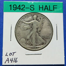 1942-S WALKING LIBERTY HALF DOLLAR - 90% SILVER - Combined Shipping LOT A416