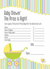 Baby Shower Juego-el precio es correcto-Juego De 16