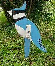 Vintage Folk Art Yard Spinning Whirligig Blue Jay Bird Garden Protector Rustic