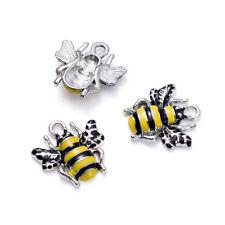 10pcs Platinum Tone Alloy Enamel Bees Pendants Yellow 18x17x3mm Jewelry Charms