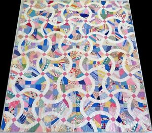 Antique Early 1900's Handmade Hand Stitched Feed Sack Pieced Quilt 78x69