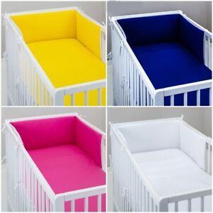3 pc BEDDING SET bumper pillowcase for cot / cot bed PLAIN GREY PINK BLUE WHITE