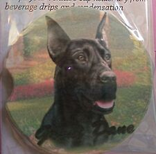 E&S Pets Absorbent Car Coaster Dog Breed Stoneware Black Great Dane Puppy Pup