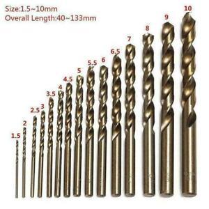 15X High Speed Steel Drill Bit Set HSS-Co 5% M35 Cobalt Pounch 1.5-10 Steel J0C7