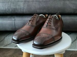 EDWARD GREEN ASQUITH Brown Dark Oak Antique Leather Brogue Shoes 8 F 888 Last