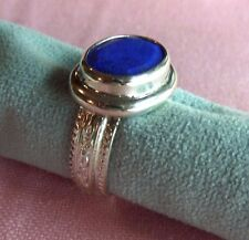 Old Stock Handcrafted Genuine 14x9mm Lapis Lazuli Silver 925 Ring skaisAU16