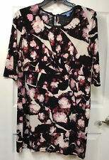 SIMPLY VERA Women  Petite PXL Dress Black Pink White Floral, 3/4 Sleeves $58 New