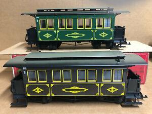 LGB 3060 & 3061 - Sonerfarbton Grun European Coach Cars Green & Brown *G Scale*