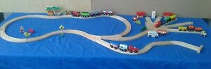 Bulk Lot - 79 pcs - Wooden Railway - Track Buildings Trains Vehicles - Preloved