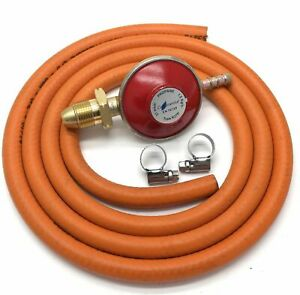 LPG Propane Gas Low Pressure Regulator With 2 Metre HP 8mm  Hose Pipe And Clips