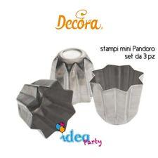 STAMPI MINI PANDORO Set 3 PZ Alluminio Decora attrezzatura dolci torta panettone