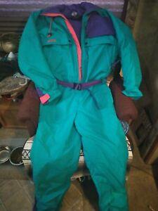 Mens Large COLUMBIA One Piece Snow Suit Ski Bib retro Snowsuit vtg 80s 90s