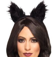 Disfraz de Halloween Pelo Largo Peludo Orejas Gato en Alice Banda Negra Smiffys