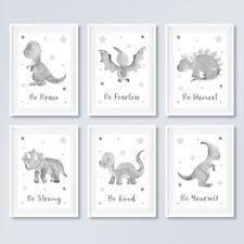 Neutral Grey Dinosaur Star Prints Childrens Boys Bedroom Pictures Nursery Decor