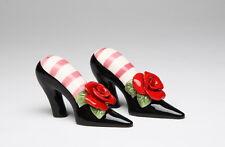 61844 Black High Heels w/Red Rose Salt Pepper Shaker Set Summer Party Social