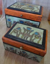 Fisherman's Box Set of 2  Embossed 25x20x15 and 20x15x10cm recycled wood