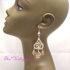 Chic Coral Orange Fiilgree Gold Drop Chandelier Earrings w/ Swarovski Crystals