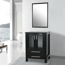 """24"""" Bathroom Vanity sink Mirror Set W/ Top Cabinet Storage Table Wood 2 Drawers"""