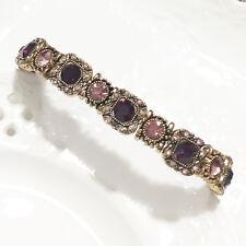 Vintage Turkish 14.52Ct Amethyst Beaded Tennis Bracelet Woman Jewelry 18K VB21