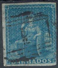 BARBADOS 1855 BRITANNIA (1D) IMPERF NO WMK USED