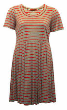 Viscose Short Sleeve Striped Plus Size Dresses for Women