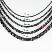2/3/4/5mm MENS Chain Black Tone Round Box Link Stainless Steel Necklace Bracelet
