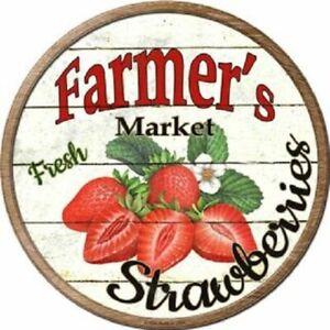 "FARMERS MARKET STRAWBERRIES 12"" ROUND LIGHTWEIGHT METAL WALL SIGN DECOR RUSTIC"