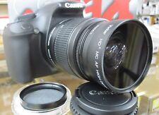 Wide Angle Macro Lens For Canon Eos Digital Rebel sl1 t5i t4i t3i w/18-55 cpl 58