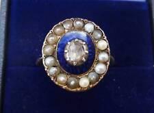 Rare 18ct gold georgian Diamond and seed pearl enamel memorial ring