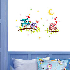 Owl Flower Tree Branch Wall Stickers Nursery Baby Room Decal Mural Art Decor