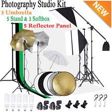 Photo Video Studio Photography Softbox Umbrella Lighting Kit Backdrop Stand Set