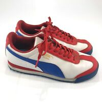 Puma Roma Boy's White, Red, and Blue Athletic Shoes Youth Size 4