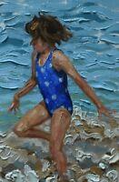 Sheila Tiffin Original Oil Painting - Girl Playing At The Beach (Cornish Art)