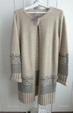 Scriba Lambswool Long Length Cardigan With Fair Isle / Nordic Print NWT Size XL