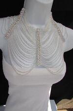 New Women Shoulders Chain Fashion Jewelry Silver Rhinestones Starnds + Earrings